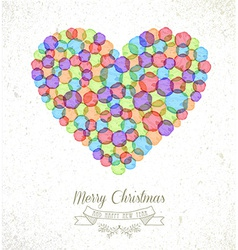 Merry Christmas watercolor heart card vector