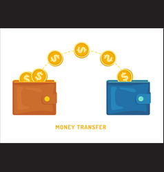 money transfer between wallets flat styling vector image