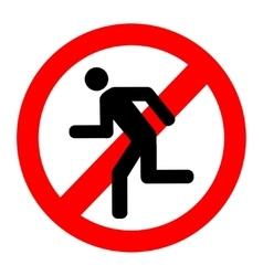 No run prohibition sign vector