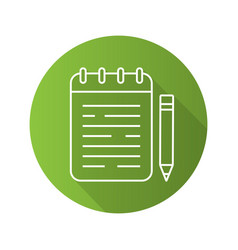 notepad flat linear long shadow icon vector image