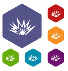 Nuclear explosion icons set hexagon vector