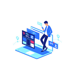 online web internet service everyday life with vector image