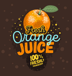orange juice typographic design with an orange vector image
