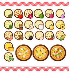 pizza constructor flat icons isolated on vector image