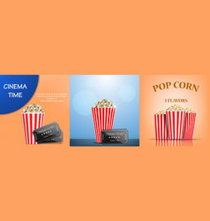 Popcorn cinema box banner set realistic style vector