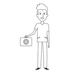 Professional man of health with medical kit vector