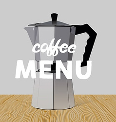Realistic italian metalic coffee maker on wooden vector