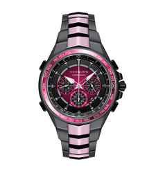realistic watch clock chronograph pink black vector image
