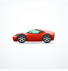 red cartoon sport car side view vector image