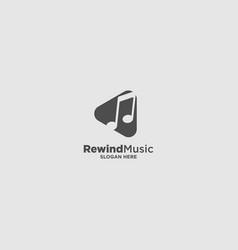 Rewind music logo design template vector