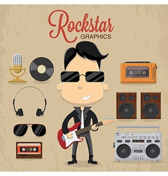 rock star guy character design icon vector image