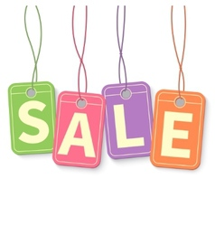 Sale tag on hanging multicolor labels isolated on vector image