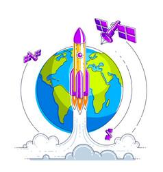 satellites flying orbital flight around earth vector image