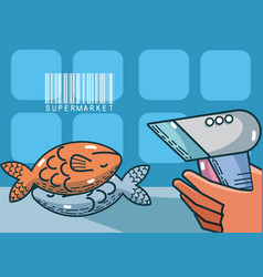 Seafood supermarket products vector