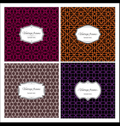 seamless multicolor geometric patterns with frames vector image