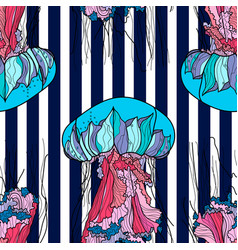 seamless pattern with jellyfish and blue stripes vector image vector image