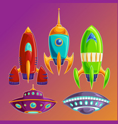 Set amusing spaceships and ufos vector