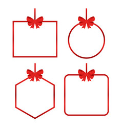 set beautiful cards with red gift bows vector image