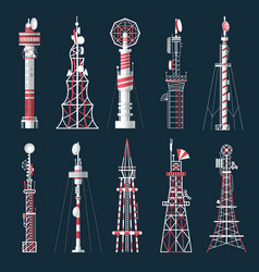 set isolated radio tower with antenna vector image