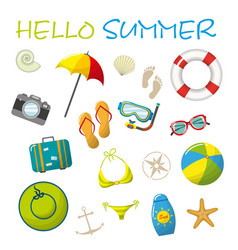 set of cartoon summer accessories vector image