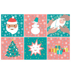 set of pictures for advent calendar in green and vector image