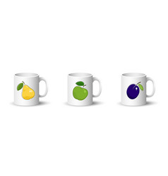 set white mugs with fruit vector image