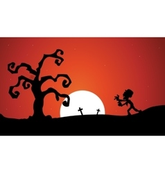Silhouette oof Halloween zombie dry tree vector image