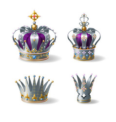 Silver royal crowns 3d realistic set vector