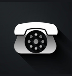 Silver telephone icon isolated on black background vector