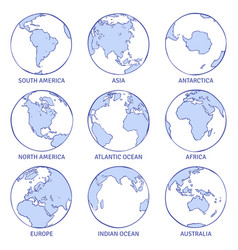 Sketch earth map world hand drawn globe earth vector