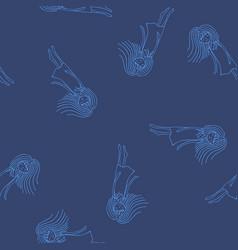 Sketch ghost soul path flying blue girls on dark vector