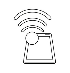 Smartphone connected wifi internet line vector