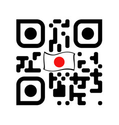 smartphone readable qr code with japan flag icon vector image