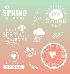 Spring typographic design Set of labels and badges vector image