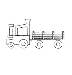 tractor farm with carriage vector image