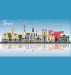 Turin italy city skyline with color buildings vector
