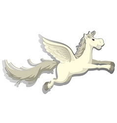 Unicorn with happy face flying vector