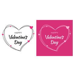 valentines day card design set heart pink frame vector image