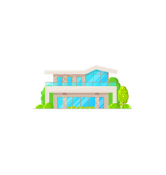 villa or cottage house isolated urban building vector image