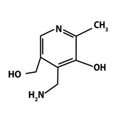 Vitamin b6 pyridoxine molecular chemical formula vector