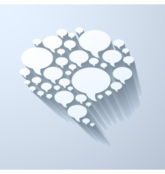 White chat bubble symbol on light grey background vector image