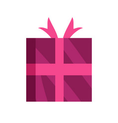 Wrapped gift glossy wrapping pink paper with bow vector