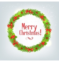 wreath fir branches with christmas holly vector image