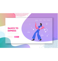 Young woman in stylish clothing moving body disco vector