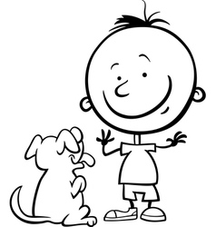 boy with dog cartoon coloring page vector image vector image