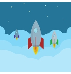 cartoon Rockets flying in clouds into the vector image vector image