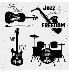 Music Quotes Monochrome Collection vector image vector image