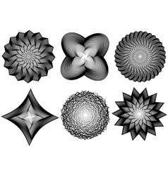 Set of line art 3d elements vector image