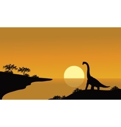 silhouette of brachiosaurus in river vector image vector image