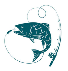 fish and fishing rod silhouettes for fishing vector image vector image